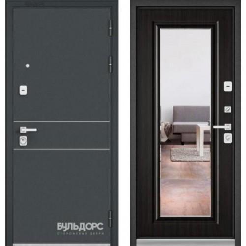 Входная дверь - PREMIUM 90 Черный шелк D14 / Ларче темный- зеркало 9Р-140