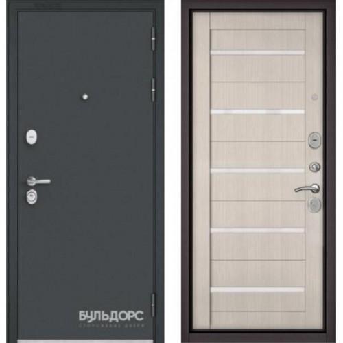 Входная дверь - STANDART - 90 (МР Черный шелк/Ларче бьянко- царга CR-3 Lakobel White )