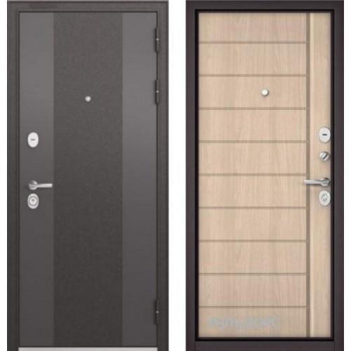 Входная дверь - Бульдорс STANDART 90 Чёрный шелк 9К-4 /Ясень ривьера крем 9S-136