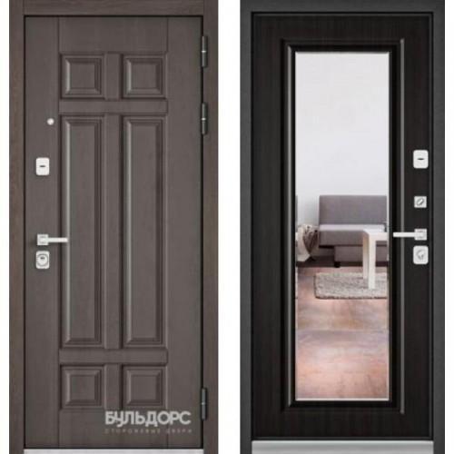 Входная дверь - PREMIUM 90 (Дуб шале серебро 9Р-115 / Ларче темный- зеркало 9Р-140)