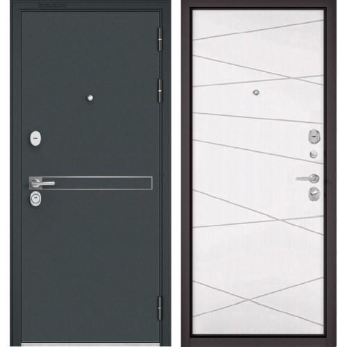 Входная дверь - STANDART - 90 (МР Черный шелк D-4/Белый софт 9S-130)