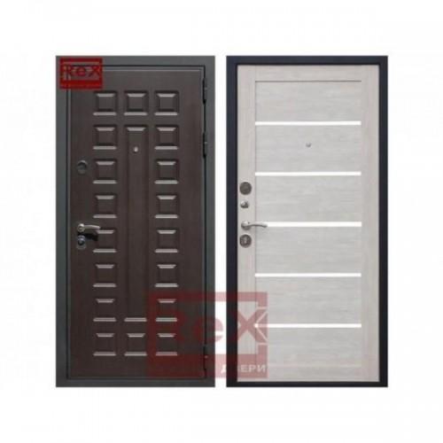 Входная дверь REX Премиум 3 CБ-14 Лиственница беж + белое стекло