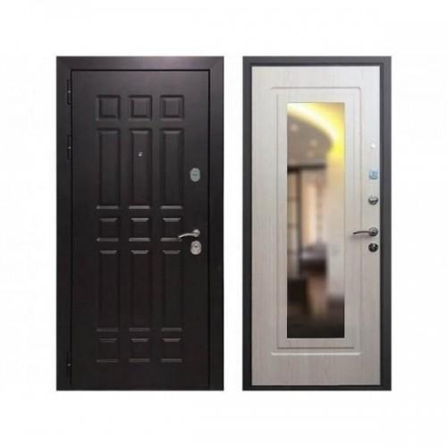 Входная дверь REX 8 Зеркало Беленый дуб