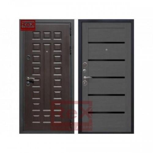 Входная дверь REX Премиум 3 CБ-14 Лиственница серая + черное стекло