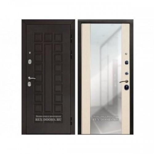 Входная дверь Rex Сенатор СБ-16 с зеркалом Венге / Лиственница беж