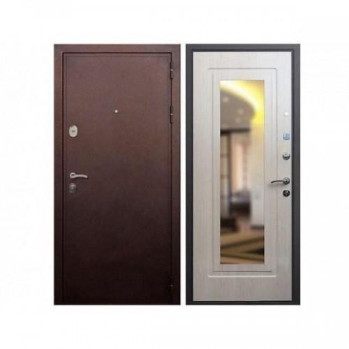 Входная дверь REX 5А Зеркало Беленый дуб