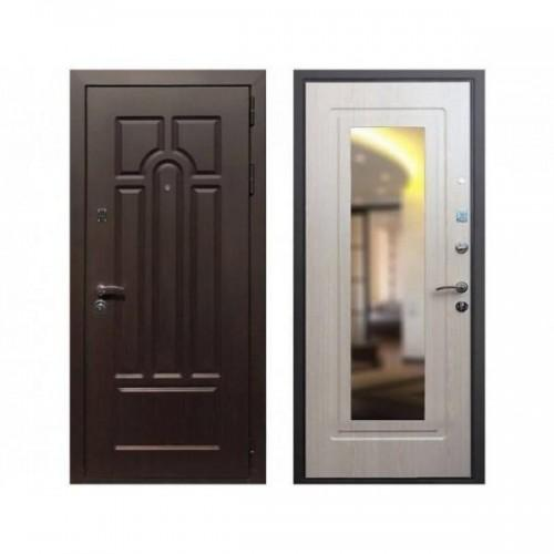 Входная дверь REX Эврика Зеркало Беленый дуб