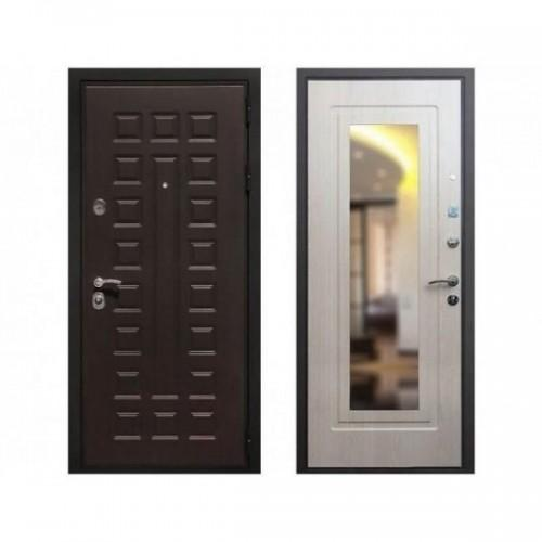 Входная дверь REX Премиум 3 Зеркало Беленый дуб