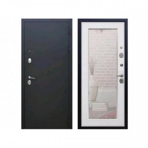 Входная дверь Rex 1А Пастораль с зеркалом (Черный муар / Ясень белый)
