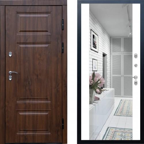 Входная дверь с терморазрывом - Сибирь термо премиум Винорит зеркало белый (TD)