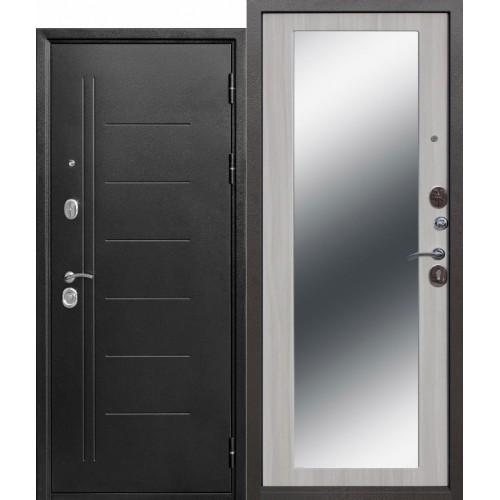 Входная дверь - Троя Серебро МАКСИ зеркало Белый ясень 10см