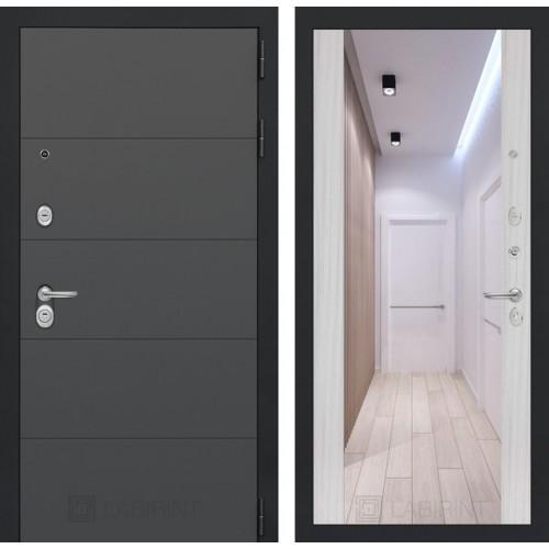 Входная дверь ART графит с Зеркалом Максимум - Сандал белый