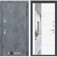 Входная дверь Бетон с зеркалом 19 - Белый софт