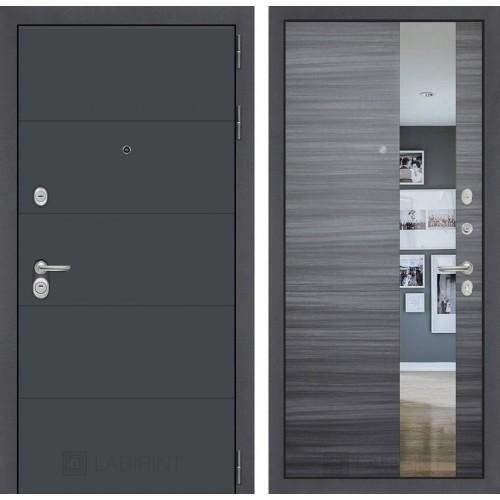 Входная дверь - ART графит с Зеркалом - Сандал серый горизонтальный