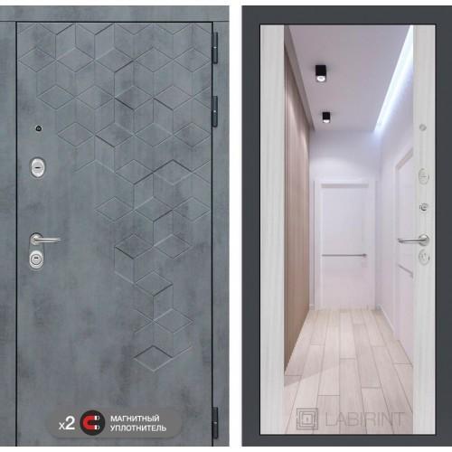 Входная дверь Бетон с зеркалом Максимум - Сандал белый