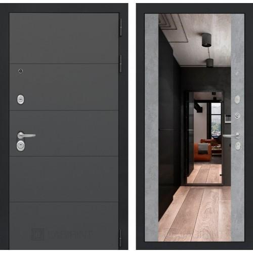 Входная дверь ART графит с Зеркалом Максимум - Бетон светлый