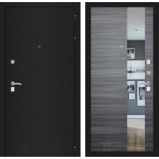 Входная дверь - CLASSIC шагрень черная с Зеркалом - Сандал серый горизонтальный