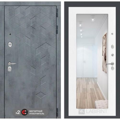 Входная дверь Бетон с зеркалом 18 - Белое дерево