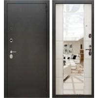 Входная дверь - Аляска серебро зеркало макси 3К Белый ясень