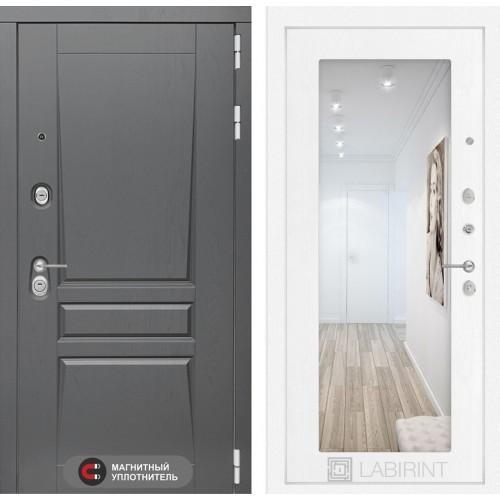 Входная дверь - Платинум с Зеркалом 18 - Белое дерево