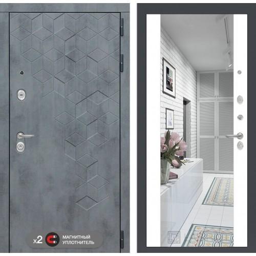 Входная дверь Бетон с зеркалом Максимум - Белый софт