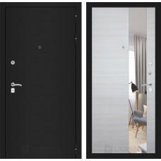 Входная дверь - CLASSIC шагрень черная с Зеркалом - Акация светлая горизонтальная