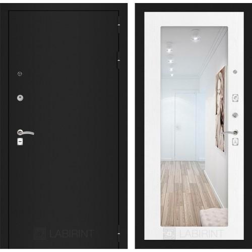 Входная дверь - CLASSIC шагрень черная с Зеркалом 18 - Белое дерево