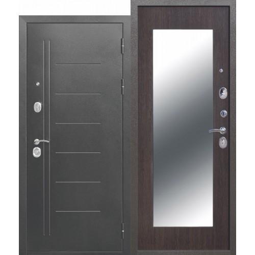 Входная дверь - Троя Серебро МАКСИ зеркало Венге 10см