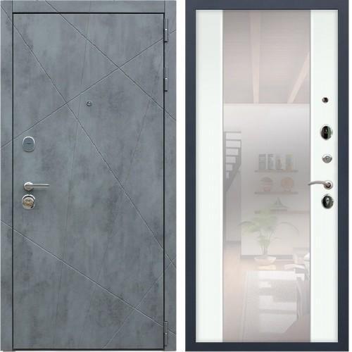 Входная дверь - REX «ДУЭТ Б с зеркалом» силк сноу