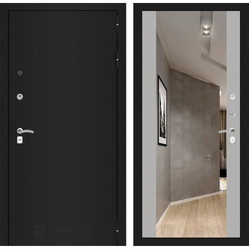 Входная дверь - CLASSIC шагрень черная с Зеркалом Максимум - Софт Грей