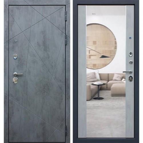 Входная дверь - REX  «ДУЭТ Б с зеркалом» бетон