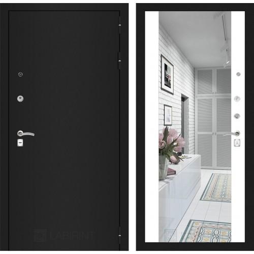 Входная дверь - CLASSIC шагрень черная с Зеркалом Максимум - Белый софт