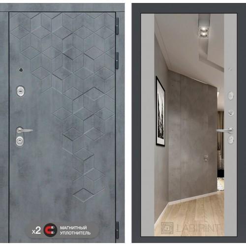 Входная дверь Бетон с зеркалом Максимум - Софт Грей