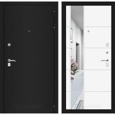 Входная дверь - CLASSIC шагрень черная с Зеркалом 19 - Белый софт