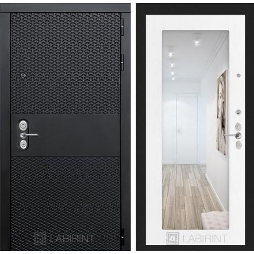 Входная дверь BLACK с зеркалом 18 - Белое дерево