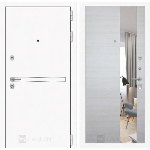 Входная дверь Лайн WHITE с Зеркалом - Акация светлая горизонтальная