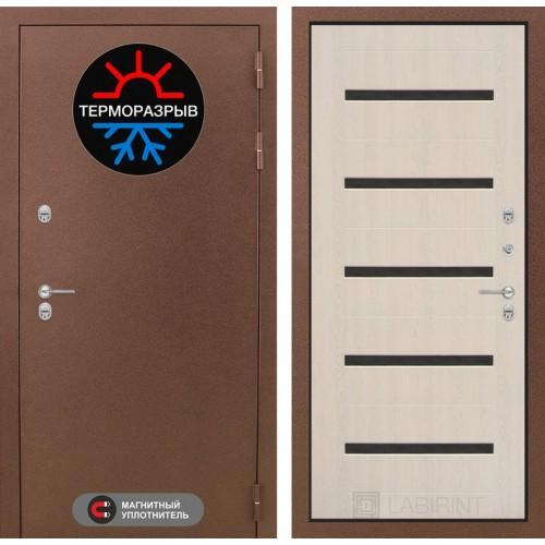 Входная дверь Термо Магнит 01 - Беленый дуб, стекло черное