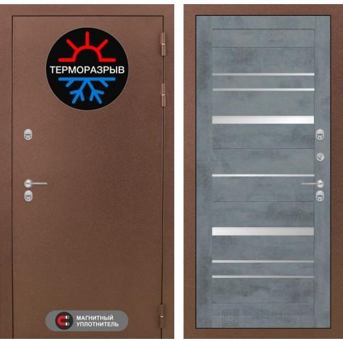 Входная дверь - Термо Магнит 20 - Бетон темный, зеркальные вставки