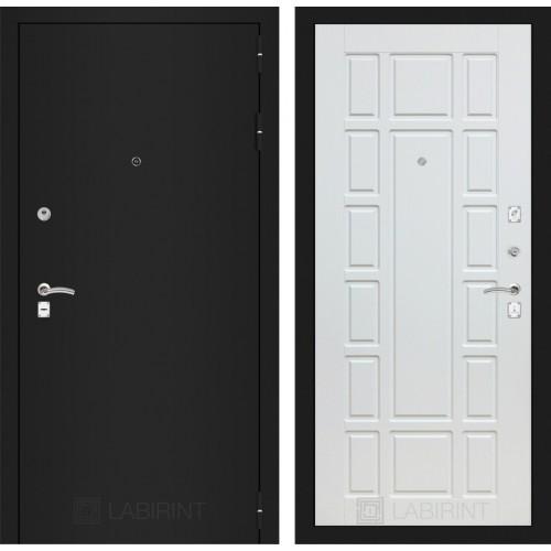 Входная дверь - CLASSIC шагрень черная 12 - Белое дерево