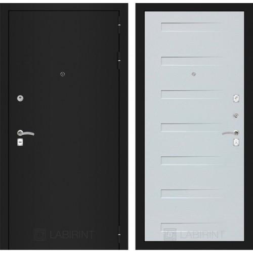 Входная дверь - CLASSIC шагрень черная 14 - Дуб кантри белый горизонтальный