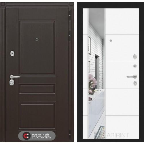 Входная дверь Мегаполис с Зеркалом 19 - Белый софт