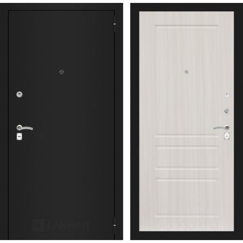 Входная дверь - CLASSIC шагрень черная 03 - Сандал белый