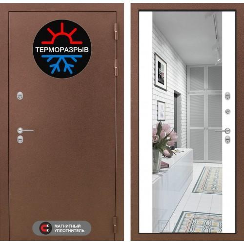 Входная дверь Термо Магнит с Зеркалом Максимум - Белый софт