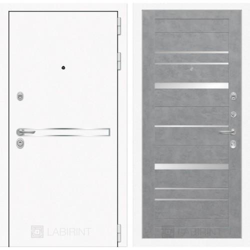 Входная дверь Лайн WHITE 20 - Бетон светлый, зеркальные вставки