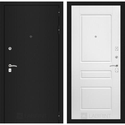 Входная дверь - CLASSIC шагрень черная 03 - Белый софт
