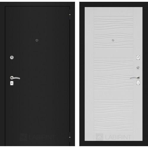 Входная дверь - CLASSIC шагрень черная 06 - Белое дерево