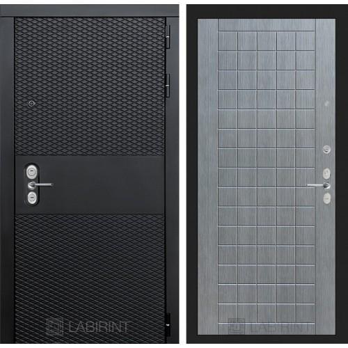 Входная дверь BLACK 09 - Лен сильвер грей