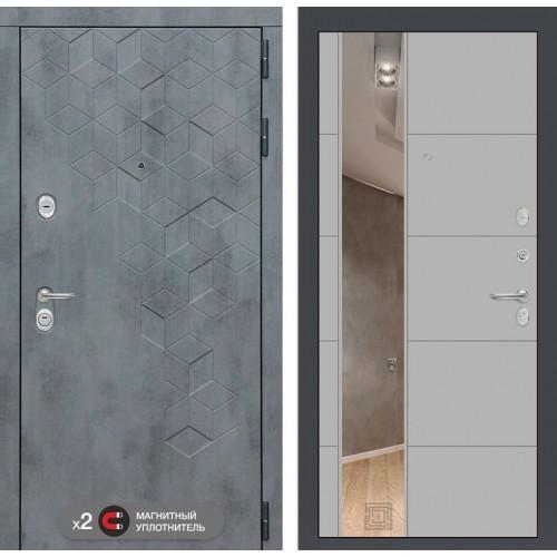 Входная дверь Бетон с зеркалом 19 - Грей софт