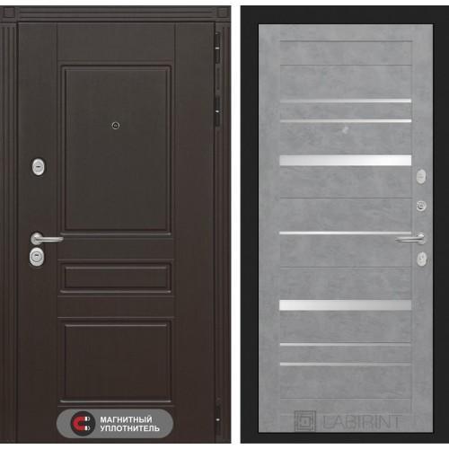 Входная дверь Мегаполис 20 - Бетон светлый, зеркальные вставки