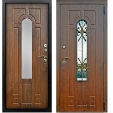 Входная дверь - Лацио 3к ВИНОРИТ темный дуб (стеклопакет ковка)